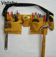 waist holder NZ - Velishy New Designer Waist Packs Grip Double Leather Pouch Tool Belt Holder Electrician Construction Carpenter