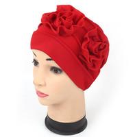 hindistan çiçeği toptan satış-Hindistan Stil Kasketleri Müslüman Kadınlar Bayanlar Şapka Saf Renk Fold Çift Dış Disk 3D Çiçek Güneş Gölgeleme Headwears Yeni Tasarımcı 7er AZ