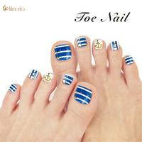 leim blaue nägel großhandel-24pcs Blue Nieten Falsche Toe Nails Vor-Design Full Cover Künstliche Gefälschte Nägel mit Kleber Ocean Style Nail Beauty für Damen