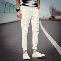 erkek harem hip hop toptan satış-Toptan 2018 Moda Rahat Beyaz siyah Denim Yırtık delik harem pantolon erkekler PU Yama Öğrencileri gençler BOY Hip hop kot erkekler
