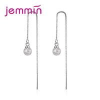 pendientes de moda al por mayor-Jemmin Trending 925 pendientes de cadena de plata de piedra colgante para las mujeres señoras de la cadena de Caja Larga Línea del oído Brincos de joyas pendiente