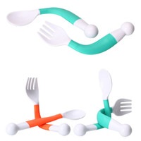 high quality 2Pcs Flexible Baby Spoon Fork Set Adjustable Children Learning Dishes Tableware free shipping wholesae hot sale 2018 new