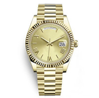 Wholesale watch bracelet president resale online - Newest Male Watches Gold K Stainless Steel Solid Bracelet Sapphire mm Round Dial Daydate President Roman Wristwatch Sport Mens Watches