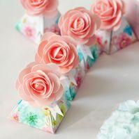 Wholesale Wedding Sugars Favors - 90 pcs Creative Pink Gift Box Flower Style Triangular Pyramid Candy Boxes Wedding Favors Bomboniera Party Supplies Sugar Box