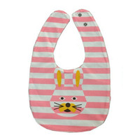 Wholesale double side bib - rabbit Bowknot Double-sided Cartoon Buttons Baby Bibs Bibs Scarves Color: Pink