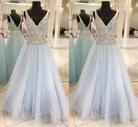 Wholesale occasion dress online - Sexy Backless Crystal Prom Dresses Deep V Neck Evening Gowns A Line Formal Women Occasion Dresses
