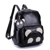 Wholesale cute panda backpacks - PACGOTH New Trendy Kawaii PU Leather Backpack Animal Prints Cute Panda Students Backpacks Korean Preppy Style Shoulder Bags 1 PC