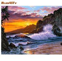 acrílico pintura paisajes marinos al por mayor-RUOPOTY marco marino pintura bricolaje por números pintura acrílica sobre lienzo pintura moderna caligrafía para el hogar arte de la pared imagen arte