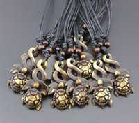 Wholesale Turtle Necklace Bone - Punk wind! Fashion men Sea turtle Pendant Necklace Imitation bone resin Wooden Bead Necklace You can adjust the size of the rope Necklace