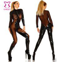 mesh zentai großhandel-Plus Size Cosplay Kostüme Latex Zentai Anzüge Schwarz Transparente Mesh PVC Body Frauen Sexy Erwachsene Erotische Spiel Reißverschluss Catsuit