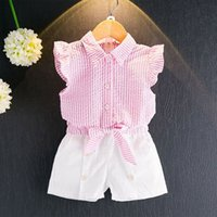 Wholesale Cute Bow Shirts - New Girls Shirt+Pants Suit Sleeveless Striped T-Shirt Bow Button-down Short Pants Cotton Blending Breathable Clothing Sets 1-9T