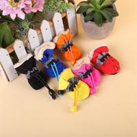 Wholesale rain puppy - 4pcs In 1set Soft Sole Non Slip Waterproof Dog Shoes Solid Color Rain Boots For Puppy Pets Practical Wear Apparel 6 5qc Z