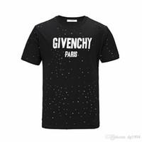 moda tişört kadın sokak toptan satış-18ss Yaz Sokak giyim Avrupa Paris Moda Erkekler Yüksek Kalite Büyük Kırık Delik Pamuk Tshirt Casual Kadın Tee T-shirt