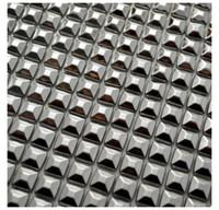 adesivo de parede interior venda por atacado-15 mm de prata autoadesiva pirâmide Paern metal telha de mosaico para armário de cozinha parede adesivo decoração interior ao ar livre