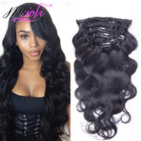 Wholesale human hair extensions clip wave - Brazilian Body Wave Malaysian Virgin Human Hair 120G Clip In Extension Full Head Natural Color 7Pcs lot 12-28 Inches From Ms Joli