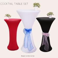 bar masa örtüleri toptan satış-2019 renk Elastik Masa Örtüsü custom made bar Süslemeleri kokteyl bez Ücretsiz Kargo restoran masa ucuz düğün parti dekorasyon