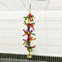 Wholesale parrot chain - Parrot Toys Colour Cotton Rope Chain Soft Bridge Bird Swing Scaling Ladder Gnaw Toys Cage Parts New Arrived 6ym Y