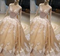 Wholesale sequin beaded satin ball for sale - Luxurious Ball Gown Wedding Dresses Jewel Long Sleeve Lace Beaded Sequins Crystals Custom Made Bridal Dresses Gorgeous Wedding Gowns