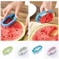 Wholesale Safe Slice - 4 Colors Watermelon Sliced Watermelon Cutter Popsicle Ice Shape Mold Safe Kitchen Fruit Knife AAA398