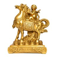 Wholesale wealth statue resale online - China feng shui brass Wealth Yuanbao money Lucky monkey Ride Horse statue