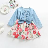 Wholesale denim dress bowknot resale online - Baby girls Floral Bowknot dress Children Long sleeves Denim flower print princess dresses Autumn Boutique Kids Clothing C4913