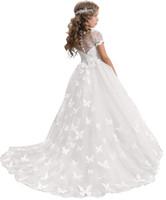vestidos de rede branca venda por atacado-Elegante Lace Applique Até O Chão Vestido da Menina de Flor de Aniversário de Casamento Pageant vestido de Baile Para O Casamento Festa Formal Ocasião
