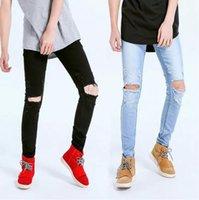 jeans grande furo joelho venda por atacado-Calças De Brim Grandes Buracos Projeto Do Joelho Mens Skinny Jeans Rasgado Drapeado Calças Lápis Longo Streetwear Vestuário Calças De Fundo