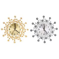 Wholesale flowers wall clock - Wholesale-Inlaid Diamond Flower Living Room Silence Bedroom Metal Wall Clock