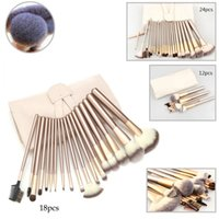 Wholesale champagne beauty resale online - Vander kits Champagne Wood Handle Cosmetic Professional Makeup Brushes Set Foundation Kit For Face Make Up Beauty