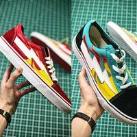 teal wildleder schuhe großhandel-New Revenge x Sturm Old Skool Pop-up-Shop Low-Cut Limited Sneaker Grün Rot IAN Teal Flame US Canvas Wildleder Mens Women Casual Skate Schuhe