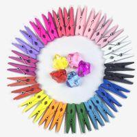 ofis malzemeleri el sanatları toptan satış-3.5 * 0.7 cm Mini Renkli Ahşap Klip Ofis Malzemeleri Fotoğraf peg Pin DIY Zanaat Kartpostal Dekorasyon Klipleri KKA6249