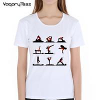 дизайн панк-майка оптовых-Human Yo ga Print T-Shirt Summer Cool Women T-shirt Punk Woman do excercise T Shirt Tops Design Fashion Female Casual Tees