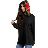 dame blumen-sweatshirt groihandel-Baumwolle Langarm Dame Plus Size Pollovers Blumenstickerei Schwarz Einfachen Stil Frühling Sweatshirt Hoodies Tops