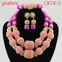 Wholesale bridal necklaces light purple - 2018 Hot Sale Nigerian Wedding African Beads Jewelry Set Necklace African Costume Bridal Jewelry Sets Free Shipping CK74-2