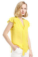 blusa de gasa amarilla de las mujeres al por mayor-2018 Primavera Verano Blusas de Impresión para Las Mujeres Amarillo Gasa Ruffles Cinta Camisa Femenina Sexy Casual Ladies Tops OL Oficina Señora FS3465