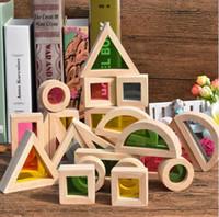 Wholesale toy assembling resale online - Baby Toys Geometric Assembling Acrylic Blocks Super Popular Creative Rainbow Building Blocks Wooden Educational Toys Gift