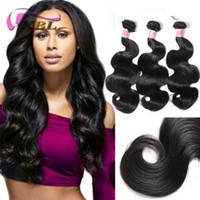 Wholesale indian human hair weft silky resale online - XBL Silky Body Wave Human Hair Weave Indian Virgin Hair Pieces Black Human Hair Wefts