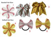 Wholesale hairbow flowers - 2018 hot sell Softball Flower mixed style Softball Flower Accessory Pony and hair clip,softball hair bows,softball hairbow,baseball hairbow