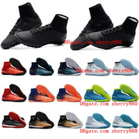 Wholesale Cr7 White Indoor Shoes - 2018 cheap mens cr7 soccer cleats Mercurial Superfly V TF IC indoor soccer shoes cristiano ronaldo Crampons de football boots neymar New Hot