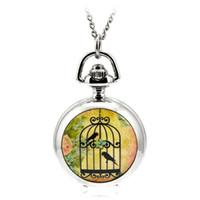 ingrosso collane di birdcage-A125 Modern Silver Quartz Pocket Fob orologi collana pendente Relogio De Bolso donne orologio creativo fumetto Birdcage regalo