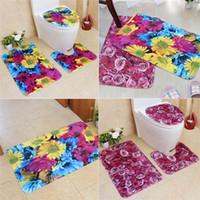 ingrosso grandi bagni-3 pz set grande fiore colorato bagno tappeto tappetino antiscivolo piedistallo tappeto + coperchio coperchio del water + tappetino da bagno floreale tappeti toilette vendita