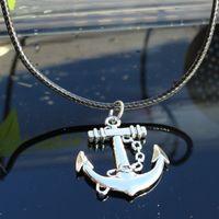 korsan tarzı kolyeler toptan satış-Deri Halat Kolye Deniz Avcısı Wang Bir Korsan Tekne Donanma Tarzı Çapa Kolye Hediye Kısa Fon Klavikula