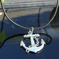 piraten-halsketten großhandel-Leder Seil Halskette Sea Wilder Wang ein Piratenboot Navy Stil Anker Anhänger Geschenk kurze Fonds Schlüsselbein