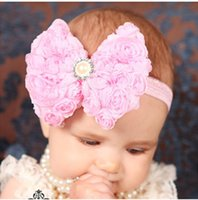10pcs много детей детей Baby Girls Pearl 2 Layer Rose Flowers Bowknot Headband Headwear Hair Band Head Piece Accessories