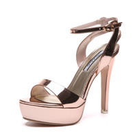 zapatos de boda de plata talla 12 al por mayor-Sexy mujer tacón alto plataforma tobillo tiras oro plata zapatos de boda sandalias de verano 12 cm tamaño 34 a 39