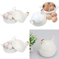 Wholesale chicken stock - Egg Steamer Chicken Shape Stainless Steel Microwave Oven 4 Eggs Boiled Tools Cooker Steaming Device Goods In Stock 9cd V