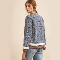 uzun saçak toptan satış-O-Boyun Ceket Mavi Bağbozumu Saçak Bant Trim Kadın Sonbahar Ceket Kadın Bahar Uzun Kollu Zarif Boho Ceket Giyim