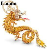 Wholesale dragons lead resale online - beijia Animal Enamel Big Dragon Keychains Keyrings Crystal Animal Dinosaur Bag Pendant Gift Car Key Chain Ring Holder K349