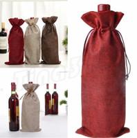 şarap partisi malzemeleri toptan satış-Şarap Poşetleri Şampanya Şarap Şişesi Hediye Kılıfı çuval Kapakları Paketleme çantası Düğün Parti Dekorasyon İpli kapak Parti Malzemeleri I408