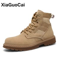 Wholesale comfortable safety boots - XiaGuoCai High Quality Men Military Tactical Boots Autumn Comfortable Lace Up Desert Ankle Martin Boot Army Male Footwear